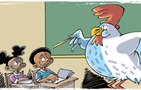 Des poules qui vont à l'école